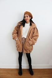 Nina'schoice - Yesstyle Camel Beret, H&M Cream Knitted Sweater, Asos Beige Skirt, Steve Madden Black Ankle Boots, Sheertex Black Sheer Tights, Prettylittlething Brown Teddy Coat - 2.22.21