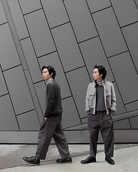 FL JU - Club Room Jumper, Cos Pants, Jaeger Jacket - Dark Gray and Light Gray