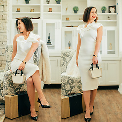 Lindsey Puls - Ted Baker Pumps, Kate Spade Mini Purse, Femme Luxe Dress - White Dress