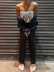 Pema DL - Blue Fuzzy Top, Denim Jacket, Black Flared Pants, Pink Kitten Heels - Denim