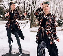 Carolyn W - Wrangler Vintage, Handmade, Leather Tie, Moto Leggings, Sam Edelman Studded - Moto/Plaid Layers