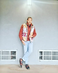 Greg Prince - Old Navy Sweater, Simply Southern Vest, Levi's Jeans, Sperry Shoes - Aztec and Denim