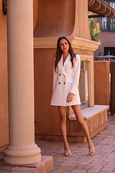 Jenny M - Zara Blazer Dress, Zara Sandals - @thehungarianbrunette - White Blazer Dress