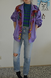Kelly Doll - Purple Vintage Jacket, Mango Sweater With Stripes, Pepe Jeans Blue Mom, Adidas Black Socks - 80s sunday