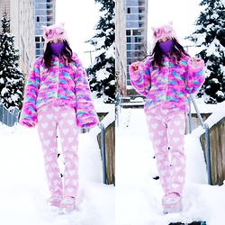 Lovely Blasphemy - Acdc Rag Eco Fur Jacket, Lazy Oaf All My Heart Jeans, Esqape Heart Goggles Pink - Snow Day