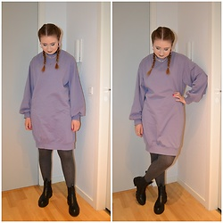 Mucha Lucha - H&M Sweatshirt Dress, Vrs Tights, Pull&Bear Boots - Relaxed and comfy in lilac and grey