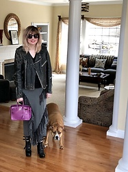 Shannon D - Romance Was Born Skirt, Hermès Bag, Vintage Black Leather Jacket - Vintage Black Leather Jacket