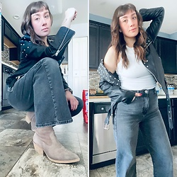 Samantha Rydin - Jeffrey Campbell Shoes Boots, Forever 21 Wide Leg Jeans, Forever 21 Leather Jacket, Target Ribbed Tank - Suede Boots & Studded Leather