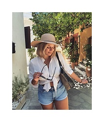 Sissi Stan - Karfilhats Summer Straw Hat, Greek Brand White Blouse, Zara High Waisted Jean Shorts - S2020- a walk in Greek Island Skiathos