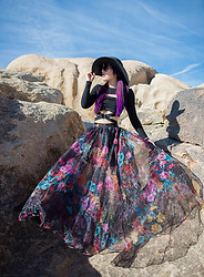 La Carmina - LaCarmina.com - Vintage Skirt Lacarmina, Forest Ink Sexy Cut Out Top, Tenth St La Carmina Black Sun Hat - Joshua Tree National Park fashion model Goth desert modeling
