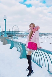 Shelly G - Mr & Mrs Italy Pink Coat, Stuart Weitzman Black Boots, Michael Kors Pink Bag, Topshop White Skirt - Pink Winter Set