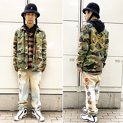 @KiD - Kangol Fur Hat, Rvca Camouflaged Jacket, Taimado Sweat Pants, Fila Basketball Shoes - JapaneseTrash633