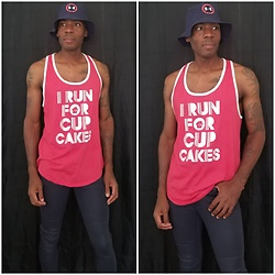 "Thomas G - Under Armour Bucket Hat, Center Stage ""I Run For Cup Cakes"" Tank Top, Gap Wax Coated Legging Jean, Blog - Bucket hat 