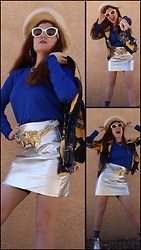 Jack Pal - Tory Burch Sunnies, Dsw Glitter Boots, Forever 21 Silver Skirt, Under Armour Blue Shirt, Grandma Closet Colorful Jacket, Yard Sale Vintage Hat, Thrift Store Gold Belt - Vintage Hitchhiker