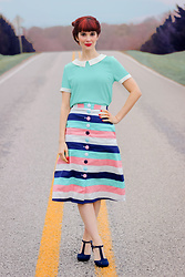 Bleu Avenue - Collectif Striped A Line Skirt - Spring Colors