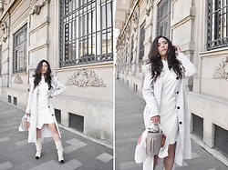 "Jelena Dimić - Shein Statement Collar Trench Coat, Shein White Dress, Mohito Bucket Bag, Thrifted Scarf, Studio 16 The Label Earrings ""Devotion"", Raye Boots - You have mastered the art of cruelty"