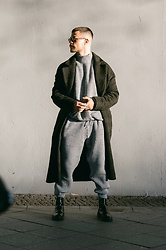 Kevin Elezaj - Dr. Martens Boots, Asos Sweatpants, Asos Sweater, Zara Coat, Moscot Glasses - March