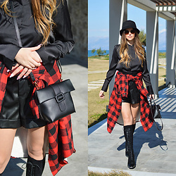 Tamara Bellis - H&M Satin Shirt, Zara Leather Shorts, Just Fashion Now Plaid Outerwear, Dresslily Bucket Hat, Dresslily Crossbody Bag, Dresslily Lace Up Knee Boots - Teen Spirit
