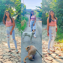Ritz D - American Eagle Tattered Jeans, Pastel Buttoned Crop Top, Fila Disruptor Ii - Love is a four-legged word.
