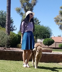Saguaro Style - Sunhat, Miss Patina Mermaid Cat Blouse, Vintage Denim Skirt, Sven Clogs Purple Pastel - 09.29.20