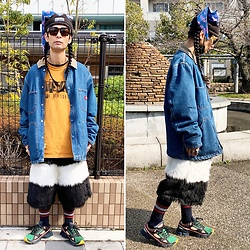 @KiD - Buttstain Cockroach Hat, Dickies Denim Jacket, Buttstain Tee, Buttstain Fake Fur Shorts, Adidas Raf Simons, Typhoon Mart Sunglasses - JapaneseTrash634