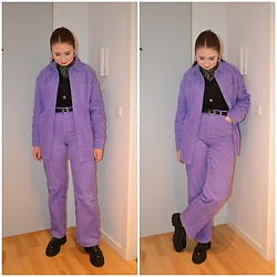 Mucha Lucha - H&M Roll Neck Top, H&M Sweater Vest, Monki Shirt, Second Hand Belt, Monki Trousers, Asos Shoes - The purple corduroy set
