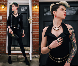 Carolyn W - H&M Thrifted, Vintage Catsuit, Grand Tour Collection All Gems, Privileged Shoes Studded - International Women's Day