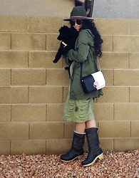 Saguaro Style - Somedays Lovin' Army Jacket, Boutique Bodycon Dress, Kate Spade Nicola, Sven Clogs Gray Clog Boots - 10.29.20