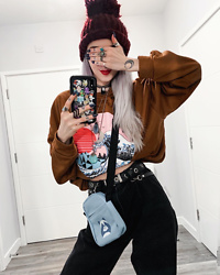 Kimi Peri - Romwe Mom Jeans, Romwe Crossbody Panda Bag, Romwe Oversized Sweater, Ghibli Choker, Beanie, Rogue + Wolf Chase Ring - We Love To Hide 🙈🐼💕