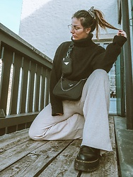 Doina M. - Dr. Martens Combat Boots, Missguided Wide Leg Leggings, Youturn Oversized Turtle Neck - Sorry Prada