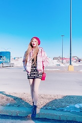Shelly G - Zara Pink Coat, Guess Dress, Gucci Bag, Guess Boots - Pink Fashionista