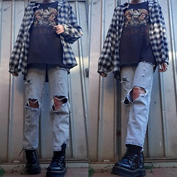 Kc - Dr. Martens Jadon Boots, Cotton On Queen Shirt, Cotton On Distressed Jeans, Cotton On Flannel Shirt - Queen