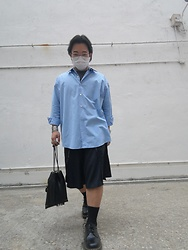 Curtis W - Ami Paris Shirt, Comme Des Garcons Homme Plus Shorts, Dr. Martens Shoes, Porter Bag - 14/03/2021 : )