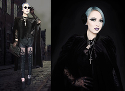Lucinda ★ Van Tassel - Punk Rave Lace Up Leather Leggings, Shein Velvet Cape - Vamp