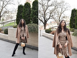 Jelena Dimić - Max Mara Camel Coat, Orsay Floral Dress, Petite Chèrie Rose Charm Necklace, Orsay Handbag, Exit Over The Knee Boots - Wandering through life, will love come home to you?