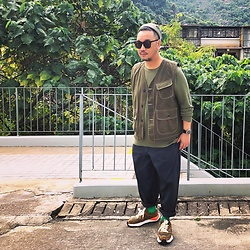 Mannix Lo - Hunting Vest, Uniqlo Waffle Tee, Gu Balloon Pants, Miharayasuhiro X Nigel Cabourn Sneakers - Good sense of humor, dirty mind and beautiful heart