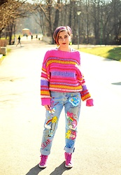Evilish Queeny - Stradivarius Pink Neon Sweater, Hand Made Care Bears Jeans - Grumpy Care Bear