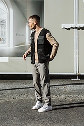 Kevin Elezaj - Nike Sneakers, Cos Suit Pants, Cos Knit, A.P.C. Vest - Vest love