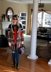 Shannon D - Etro Coat, Chloé Studded Boots, Equipment Star Print Shirt, Hermès Bag, Joe's Jeans, Chloé Sunglasses - Patchwork Style