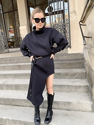 Anna Borisovna - Elaine Hersby Sweater, H&M Belt, Elaine Hersby Skirt, Zara Boots, Celine Sunglasses - All in black