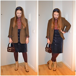 Mucha Lucha - Monki Roll Neck Top, Second Hand Blazer, Monki Skirt, Asos Bag, H&M Tights, Asos Boots - Throwback vibes