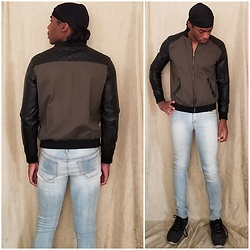 Thomas G - Durag, Forever 21 Faux Leather Sleeve Bomber Jacket, Skechers Skech Knit, Cello Stone Wash Jeggings - Durag | Bomber jacket | Jeans