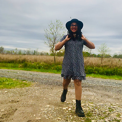 Leah Strickney - Target Rancher Hat, Thrifted Floral Black And White Dress, Dr. Martens Jadon Boot, Cult Gaia Nora Pearl Choker - Lazy Days