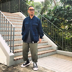 Mannix Lo - Descendant Denim Coverall, H&M Washed Tee, Gu Loose Fit Pants, Miharayasuhiro X Nigel Cabourn Destroyed Denim Sneakers - I never faked my care to everyone I care