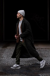 Kevin Elezaj - New Balance Sneakers, Cos Pants, Uniqlo Cardigan, A.P.C. Knit, Zara Coat, Nike Beanie - 822