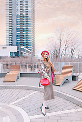 Shelly G - Guess Leopard Coat, Michael Kors Flats, Zara Sweater Dress, Gucci Bag, Ralph Lauren Beanie - Leopard Print