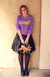 Evilish Queeny - Reserved Purple Sweater, Second Hand Black Latex Skirt, H&M Deer Plushie Purse, Bershka Lace Up Black Boots - Bambi