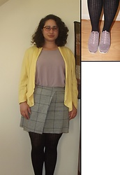 Selina - Charity Shop Yellow Jacket, Vinted Checked Skirt, Sketchers Purple Trainers - Spotlight