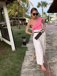 Anna Borisovna - H&M Swimsuit, H&M Pants, H&M Shoes, Marni Belt, Bottega Veneta Sunglasses - The pink swimsuit
