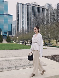 Jade Zhu - Mango Handbag, Gucci Belt, Toteme Scarf - All White
